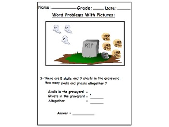 Halloween Themed  First Grade Math Word Problems with Pictures :