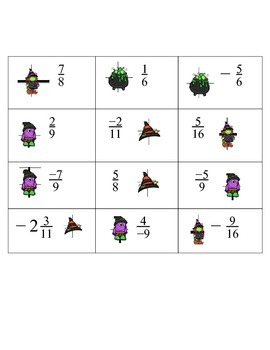 Halloween Themed Fraction Cards
