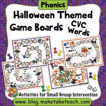 CVC Words - Halloween Themed Game Boards