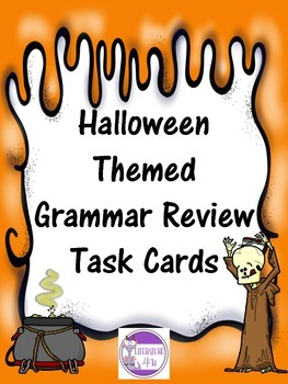 Halloween Themed Grammar Review with 30 Task Cards