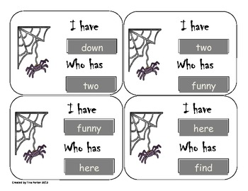 Halloween Themed I have who has pre-primer dolch word activity
