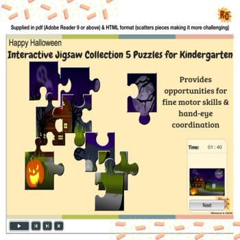 Kindergarten Halloween Themed Interactive Jigsaw Puzzles Collection
