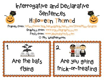 Halloween Themed Interrogative and Declarative Sentences