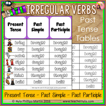 Halloween Themed Irregular Verbs Past Tense Tables