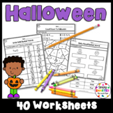 Halloween Themed Kindergarten Math and Literacy Worksheets and Activities