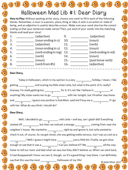 Halloween Themed Mad Libs - Nouns, Verbs, and Adjectives