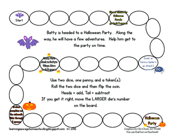 Halloween Themed Math Game - Addition & Subraction