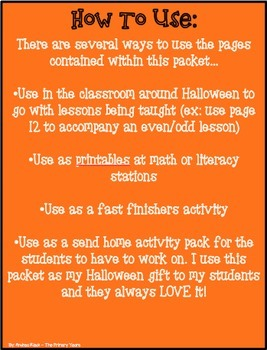 Halloween Themed Math & Literacy Packet - Print & Practice