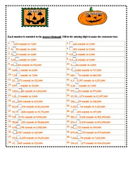 Halloween Themed Math Rounding Help the Square Pumpkin Round