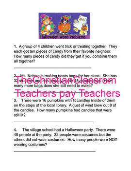Halloween Themed Math Word Problems
