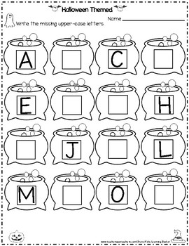 Halloween Themed Missing Numbers and Letters (Write it, Cut it and Paste it)
