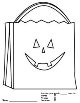 *English & Spanish* Halloween Themed Multi-Syllabic Trick-or-Treat Bag