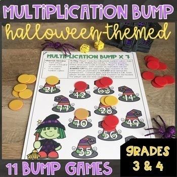 Halloween Math Center Multiplication Games