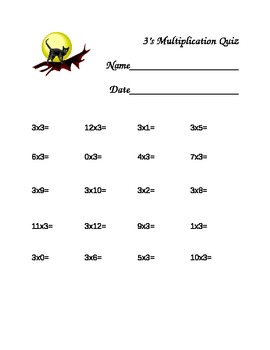 Halloween Themed Multiplication Quizzes 2's-12's