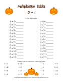 Halloween Themed Multiplication Table Worksheets