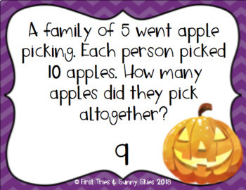 Halloween Multiplication Word Problems Task Cards