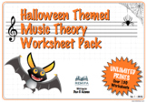Halloween Themed Music 130 Worksheet Pack