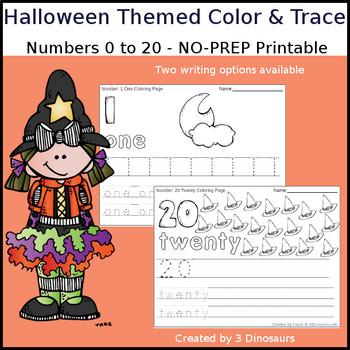 Halloween Themed Number Color and Trace