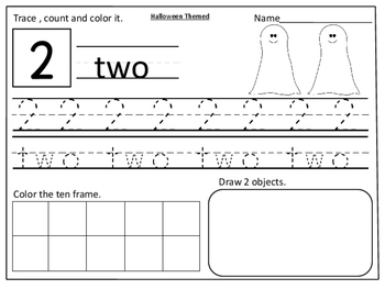 Halloween Themed Number Practice Pages (1- 20):