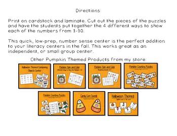 Halloween Themed Number Puzzles - Kindergarten Math Centers