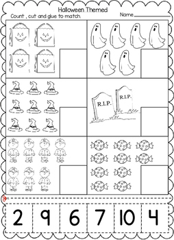 Halloween Themed Numbers Cut and Paste Worksheets (1-20):