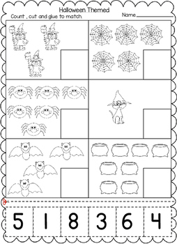 Halloween Themed Numbers Cut and Paste Worksheets (1-20 ...