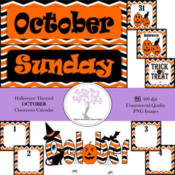 Halloween Themed OCTOBER Classroom Calendar