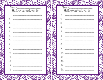 FREEBIE: Halloween Themed Parts of Speech Task Cards