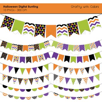 Halloween Themed Pennant Bunting Clip Art