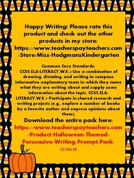 Halloween Themed Persuasive Writing Prompt Freebie
