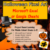 Halloween Themed Pixel Art in Microsoft Excel or Google Sheets