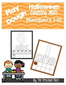 Halloween Themed Play Dough Counting Mats- 10 Frames, Math, Counting