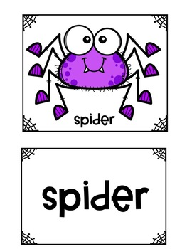 Halloween Themed Pocket Chart Pictures & Word Cards