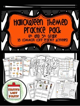 Halloween Themed Practice Pack Mixed Review: Math for 4th and 5th Grade
