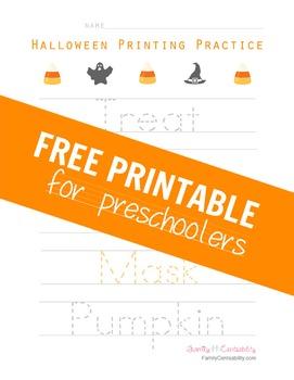 Halloween Themed Printing Practice for Preschoolers