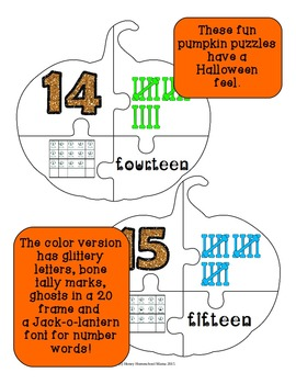Halloween Themed Pumpkin Number Puzzles 0 to 20