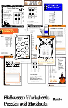 Halloween Themed Puzzles, Worksheets and Activities