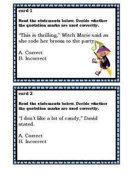 Halloween Themed Quotation Marks Task Cards