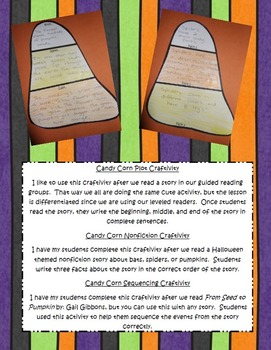 October & Halloween Themed Reading Comprehension Book Craftivities for Any Book!