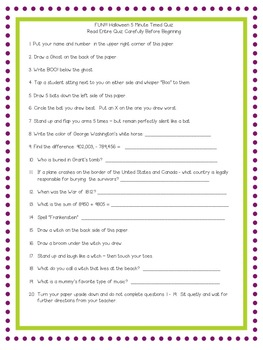 Halloween Themed -- Reading Multi-Step Directions -- Task Cards and More