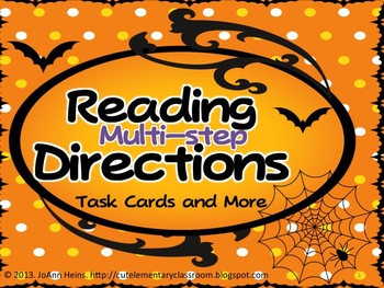 Halloween Themed -- Reading Multi-Step Directions -- Task