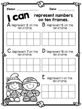 Halloween Themed Representing Numbers on a Tens Frame Task Cards