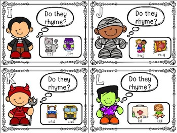 Halloween Themed Rhyming Task Cards