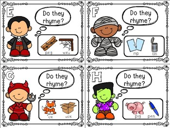 Halloween Themed Rhyming Task Cards
