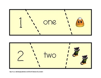 Halloween Themed Self Checking Math Activity Cards (1-10)