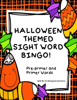 Halloween Themed Sight Word Bingo