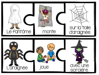French Halloween Themed Silly Sentence Builder Cards