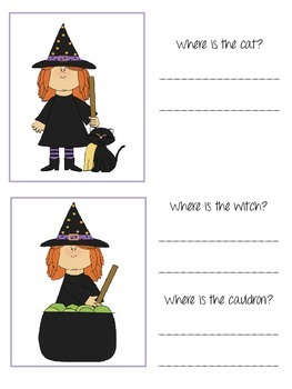 Halloween Themed Spatial Concept/Preposition Flash Cards and Worksheets