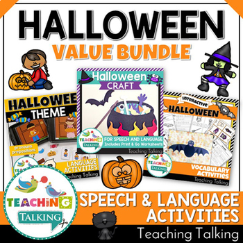 Halloween Themed Speech Therapy Activities Value Bundle
