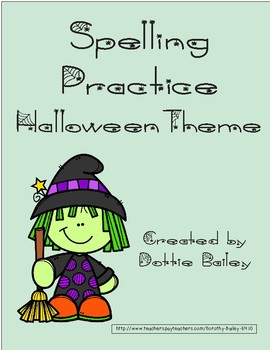 Halloween Themed Spelling Practice for 10 Word List